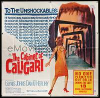 4y017 CABINET OF CALIGARI 6sh '62 written by Robert Bloch, it shocks the unshockables!