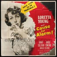 4y021 CAUSE FOR ALARM 6sh '50 great huge close up image of pretty Loretta Young in peril!