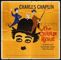 4y022 CHAPLIN REVUE 6sh '60 Charlie comedy compilation, great artwork by Leo Kouper!