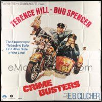 4y025 CRIMEBUSTERS int'l 6sh '79 great art of Terence Hill & Bud Spencer on motorcycle w/sidecar!