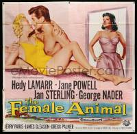 4y029 FEMALE ANIMAL 6sh '58 artwork of sexy Hedy Lamarr & Jane Powell romanced by George Nader!