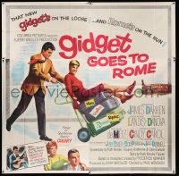 4y034 GIDGET GOES TO ROME 6sh '63 James Darren & Cindy Carol over Italy's Colisseum!