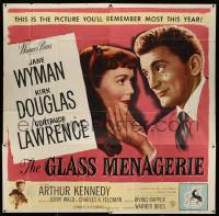 4y036 GLASS MENAGERIE 6sh '50 Jane Wyman thinks she loves Kirk Douglas, Tennessee Williams!