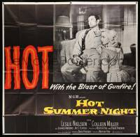 4y043 HOT SUMMER NIGHT 6sh '56 Leslie Nielsen, Colleen Miller, HOT with the blast of gunfire!