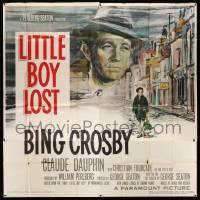 4y051 LITTLE BOY LOST 6sh '53 Ercole Brini art of Bing Crosby looming over WWII orphan on street!