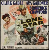 4y053 LONE STAR 6sh '51 Clark Gable with gun & sexy Ava Gardner, it's big in love & action!