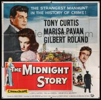 4y060 MIDNIGHT STORY 6sh '57 Tony Curtis in the strangest San Francisco manhunt in crime's history!