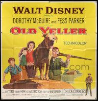 4y064 OLD YELLER 6sh R65 Dorothy McGuire, Fess Parker, Wenzel art of Disney's most classic canine!