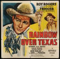 4y069 RAINBOW OVER TEXAS 6sh '46 art of Roy Rogers, sexy Dale Evans, Trigger & Gabby Hayes!