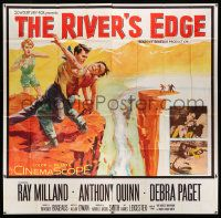 4y073 RIVER'S EDGE 6sh '57 art of Ray Milland & Anthony Quinn fighting on cliff, Debra Paget