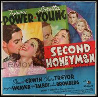 4y076 SECOND HONEYMOON 6sh '37 best romantic artwork of Tyrone Power & Loretta Young, super rare!