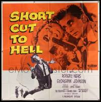 4y078 SHORT CUT TO HELL 6sh '57 directed by James Cagney, from Graham Greene's novel, cool art!
