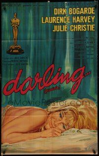 4y297 DARLING Argentinean '65 close up art of sexy Julie Christie laying in bed, John Schlesinger