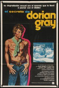 4y305 DORIAN GRAY Argentinean '73 art of barechested Helmut Berger, based on Oscar Wilde story!