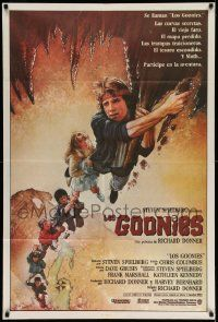 4y316 GOONIES Argentinean '85 cool Drew Struzan art of top cast hanging from stalactite!