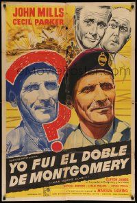 4y320 I WAS MONTY'S DOUBLE Argentinean '59 art of John Mills, Cecil Parker & M.E. Clifton-James!