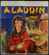 4y008 ALADDIN stage play English 6sh '30s stone litho of female lead with genie, lamp & treasure!