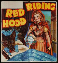 4y071 RED RIDING HOOD stage play English 6sh '30s stone litho of Red by wolf disguised in bed!