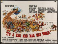 5f690 IT'S A MAD, MAD, MAD, MAD WORLD style B British quad '64 great Jack Davis art of cast, rare!