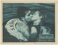 5w507 ABANDON SHIP LC #5 '57 shipwrecked Tyrone Power kisses pretty Mai Zetterling in ocean!