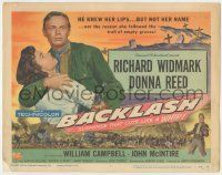 5w024 BACKLASH TC '56 Richard Widmark knew Donna Reed's lips but not her name!