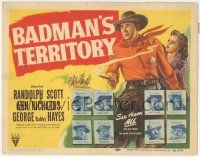 5w027 BADMAN'S TERRITORY TC '46 sheriff Randolph Scott, cool wanted posters with famous outlaws!