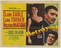 5w039 BETRAYED TC '54 Clark Gable, Victor Mature & sexy brunette Lana Turner!