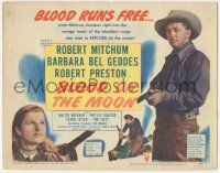 5w054 BLOOD ON THE MOON TC '49 Robert Mitchum & Barbara Bel Geddes, directed by Robert Wise!
