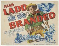 5w063 BRANDED TC '50 great artwork of tough cowboy Alan Ladd with gun in hand!