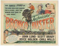 5w065 BRONCO BUSTER TC '52 directed by Budd Boetticher, cool artwork of rodeo cowboy on horse!