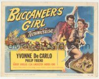 5w066 BUCCANEER'S GIRL TC '50 art of sexy pirate Yvonne DeCarlo with gun & Philip Friend w/ sword!