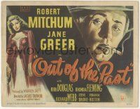 5w344 OUT OF THE PAST TC '47 great art of smoking Robert Mitchum & sexy Jane Greer, ultra rare!