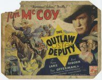 5w346 OUTLAW DEPUTY TC '35 cool art of cowboy Tim McCoy on horse, romance, action, thrills!