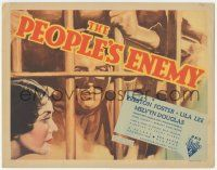 5w352 PEOPLE'S ENEMY TC '35 cool art of Preston Foster behind prison bars + pretty Lila Lee!
