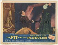 5w822 PIT & THE PENDULUM LC #1 '61 Vincent Price attacking John Kerr with fireplace poker!