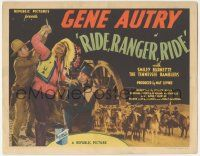 5w364 RIDE RANGER RIDE TC '36 great image of cowboy Gene Autry struggling w/Native American Indian