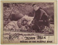 5w845 RIDERS OF THE PURPLE SAGE LC '25 great image of Tom Mix kneeling by sleeping Mabel Ballin!