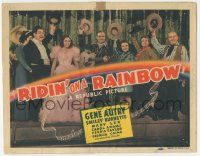 5w368 RIDIN' ON A RAINBOW TC '41 cowboy Gene Autry with guitar & top cast raising their hats!