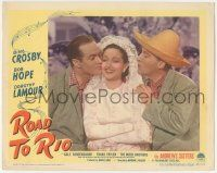 5w848 ROAD TO RIO LC #2 '48 great portrait of Bing Crosby & Bob Hope kissing Dorothy Lamour!