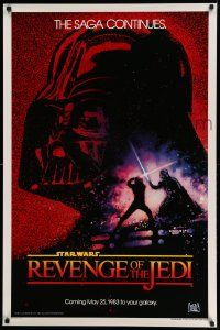 6a272 RETURN OF THE JEDI dated teaser 1sh '83 George Lucas' Revenge of the Jedi, Drew art!