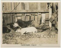 6d022 DOG'S LIFE 8x10.25 still R20s close up of Charlie Chaplin laying on ground with dog by fence!