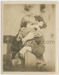 6d010 KID 8x10.25 still '21 best c/u of Charlie Chaplin hugging young Jackie Coogan from 1-sheet!