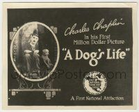 6d002 DOG'S LIFE 8x10 title card '18 cool oval image of sad Chaplin & his dog framed on art mantle