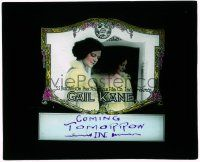 6d056 GAIL KANE glass slide '20s pretty actress by mirror, working for the American Film Company!