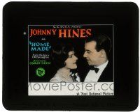 6d067 HOME MADE glass slide '27 Johnny Hines & pretty Marjorie Daw in a screwball comedy!