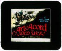 6d075 LOCO LUCK glass slide '27 cowboy Art Acord wins horse race to save Fay Wray's family ranch!