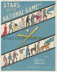 6d600 STARS OF THE NATIONAL GAME sheet music 1908 wonderful art for Major League Baseball teams!