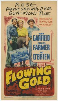 6d027 FLOWING GOLD mini WC '40 cult star Frances Farmer, John Garfield & Pat O'Brien!