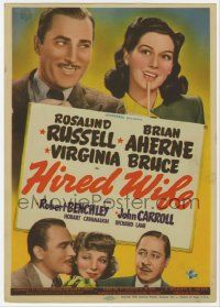 6d028 HIRED WIFE mini WC '40 Brian Aherne, Virginia Bruce, Rosalind Russell, Robert Benchley!