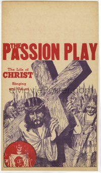 6d031 PASSION PLAY mini WC '40s The Life of Christ with Singing and Sound, art of Jesus w/ cross!